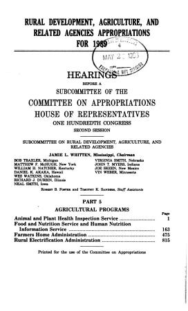 Rural Development  Agriculture  and Related Agencies Appropriations for 1989  Agricultural programs PDF