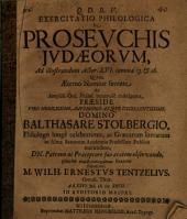 Exercitatio philologica de prosevchis Judaeorum