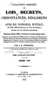 Collection complète des lois, décrets d'intérêt général, traités internationaux, arrêtés, circulaires, instructions, etc: Volume48