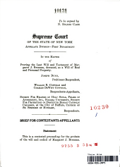 Supreme Court of the State of New York: Appelate Division-First Department: In the Matter of Proving the Last Will and Testament of Margaret J. Brenna, Deceased, as a Will of Real and Personal Property. Joseph Dunn, William B. Coffman and Charles DeWitt Coffman, Society for Helpers of Holy Souls, Friars of Atonment, Inc., Niagra University, Society for Protection of Destitute Roman Catholic Children, at the City of Buffalo, Church of St.Stephen of Hungary