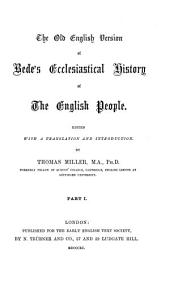 The Old English Version of Bede's Ecclesiastical History of the English People: Volume 1