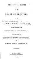 Annual Report of the Board of Trustees of the Illinois Industrial University PDF