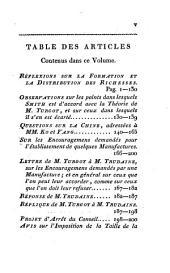 Œuvres de Mr. Turgot, Ministre d'État: précédées de Mémoires et de notes sur sa vie, son administration, et ses ouvrages, Volume5