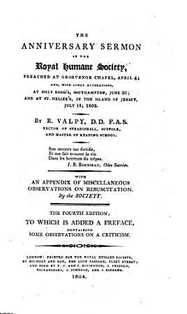 The Anniversary Sermon of the Royal Humane Society PDF