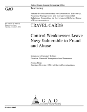 Travel cards control weaknesses leave Navy vulnerable to fraud and abuse