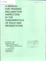 A Manual for Training Reclamation Inspectors in the Fundamentals of Soils and Revegetation PDF