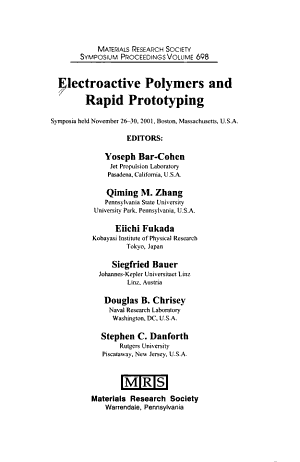 Electroactive Polymers and Rapid Prototyping  Volume 698 PDF