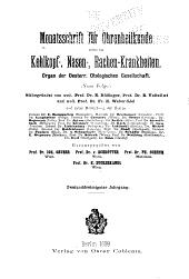 Monatsschrift für Ohrenheilkunde und Laryngo-Rhinologie: Band 32