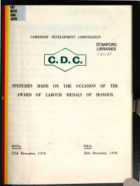 Speeches Made on the Occasion of the Award of Labour Medals of Honour