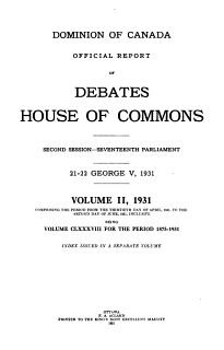 House of Commons Debates  Official Report Book