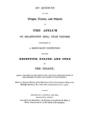 An account of the origin  nature  and objects of the asylum on Headington hill  near Oxford  considered as a benevolent institution for the reception  relief  and cure of the insane  by V  Thomas    PDF