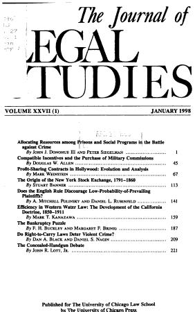 The journal of legal studies PDF