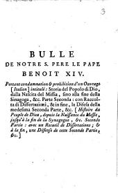 Bulle de notre S. Pere le Pape Benoit XIV portant condamnation & prohibition d'un ouvrage [Italien] intitul:́ Storia del popolo di Dio ...