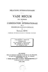 Vademecum des membres de l'association internationale pour le progrès des sciences sociales: Volume1