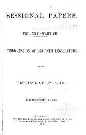 Sessional Papers: Volume 7; Volume 25, Part 7