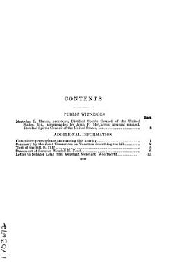 Certain Tax Provisions Relating to Distilled Spirits