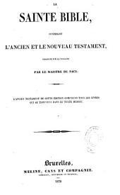 La Sainte Bible: contenant l'Ancien et le Nouveau Testament