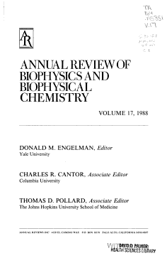 Annual Review of Biophysics and Biophysical Chemistry PDF
