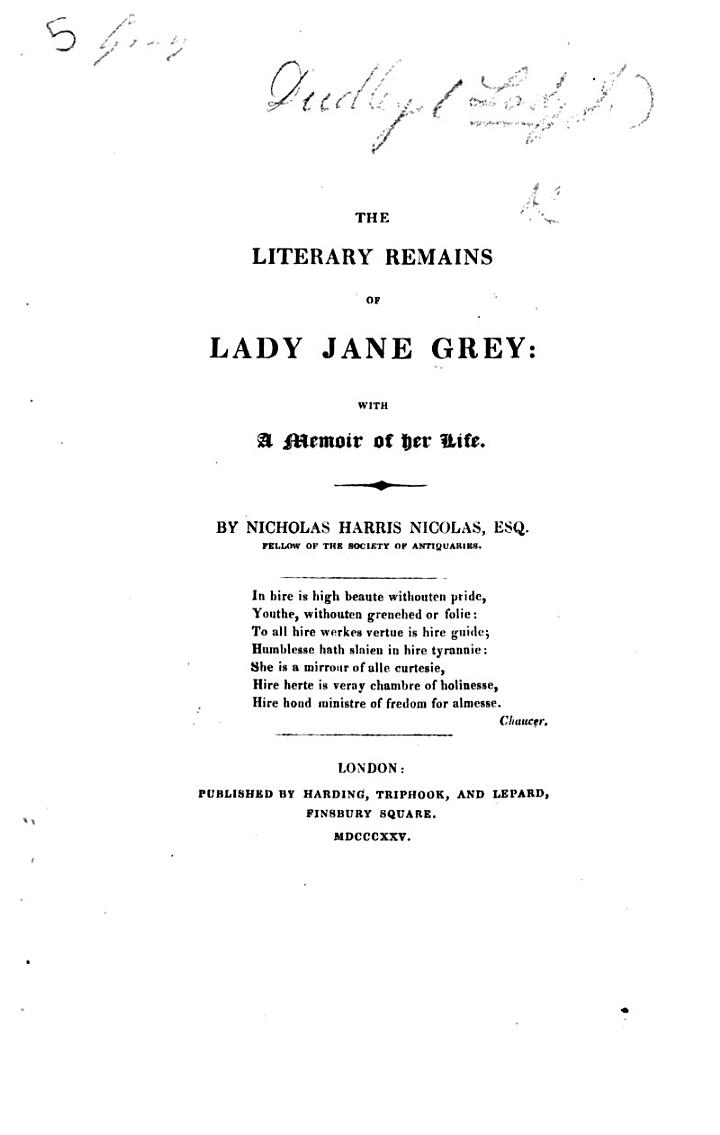 The Literary Remains of Lady Jane Grey