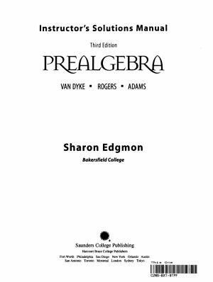 Prealgebra Instructor's Manual