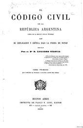El Código civil de la República Argentina: (cópia de la edición oficial íntegra)