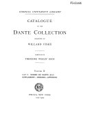 Download Catalogue of the Dante Collection Presented by Willard Fiske  Works on Dante  H Z   Supplement  Indexes  Appendix Book