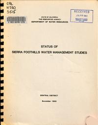Status of Sierra Foothills Water Management Studies PDF