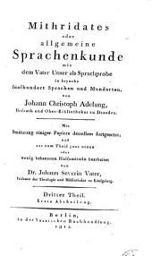 Mithridates: oder allgemeine Sprachenkunde, Band 3
