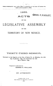 Laws of the Territory of New Mexico: Passed by the Legislative Assembly ...