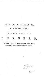 Eerezang, aan Nederlands gewapende burgers, op den 17{den} van hooimaand, 1787, naar Utrecht [...] uitgetrokken