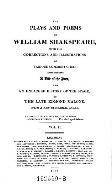 Download The plays and poems of William Shakspeare  with the corrections and illustrations of various commentators  comprehending a life of the poet  and an enlarged history of the stage Book
