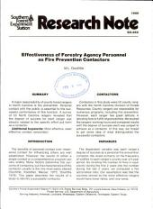 Effectiveness of forestry agency personnel as fire prevention contactors