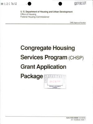 Congregate Housing Services Program  CHSP  Grant Application Package
