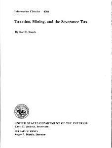Taxation  Mining  and the Severance Tax