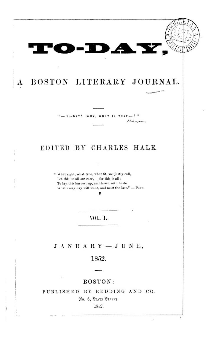 To-day, a Boston literary journal, ed. by C. Hale