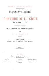 Documents inédits relatifs à l'histoire de la Grèce au moyen âge