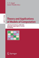Theory and Applications of Models of Computation PDF