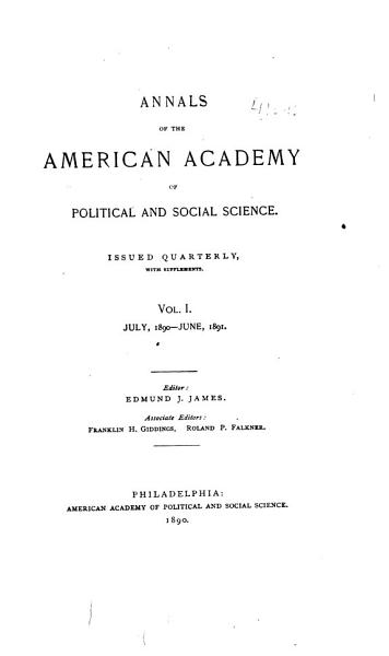 Download Annals of the American Academy of Political and Social Science Book