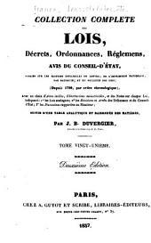 Collection complète des lois, décrets d'intérét général, traités interanationaux, arrêtés, circulaires, instructions, etc: Volumes21à22