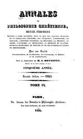 Annales de philosophie chrétienne: Volumes9à10