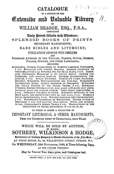 Download Catalogues of Items for Auction by Messrs  Sotheby  Wilkinson   Hodge  1850 1880 Book