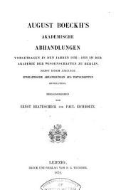 August Boeckh's gesammelte kleine Schriften: Bände 6-7