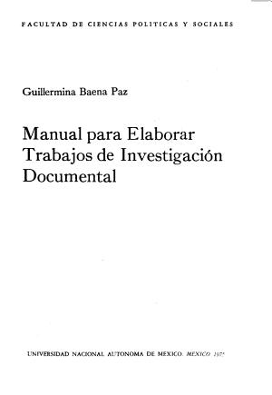Manual Para Elaborar Trabajos de Investigaci  n Documental