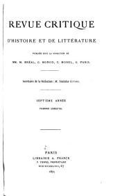 Revue critique d'histoire et de littérature: Volume7