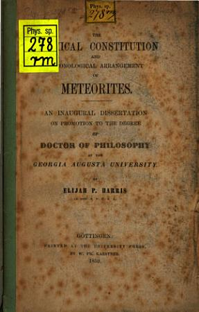The Chemical Constitution and Chronological Arrangement of Meteorites     PDF