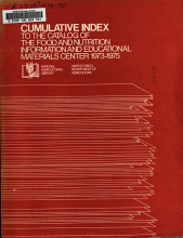Cumulative Index to the Catalog of the Food and Nutrition Information and Education Material Center 1973 1975 PDF