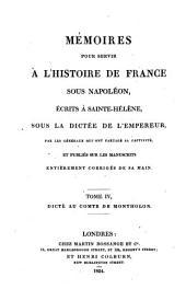 Mémoires pour servir à l'histoire de France sous Napoléon: Volume4