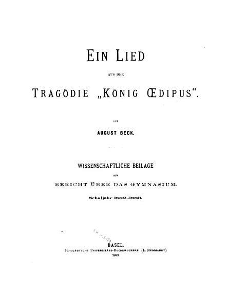 Ein Lied Aus Der Tragodie Konig Oedipus