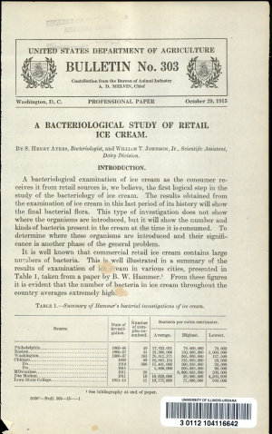 A Bacteriological Study of Retail Ice Cream