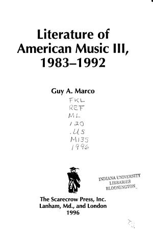Literature of American Music III, 1983-1992